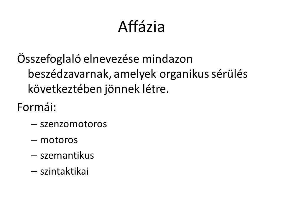 Affázia Összefoglaló elnevezése mindazon beszédzavarnak, amelyek organikus sérülés következtében jönnek létre. Formái: – szenzomotoros – motoros – sze