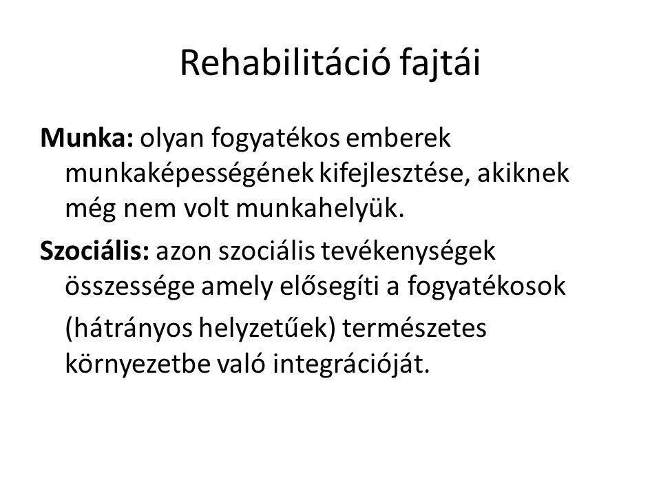 Rehabilitáció fajtái Munka: olyan fogyatékos emberek munkaképességének kifejlesztése, akiknek még nem volt munkahelyük. Szociális: azon szociális tevé