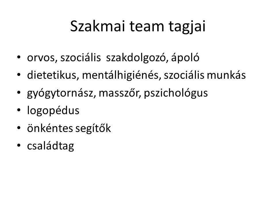 Szakmai team tagjai orvos, szociális szakdolgozó, ápoló dietetikus, mentálhigiénés, szociális munkás gyógytornász, masszőr, pszichológus logopédus önk