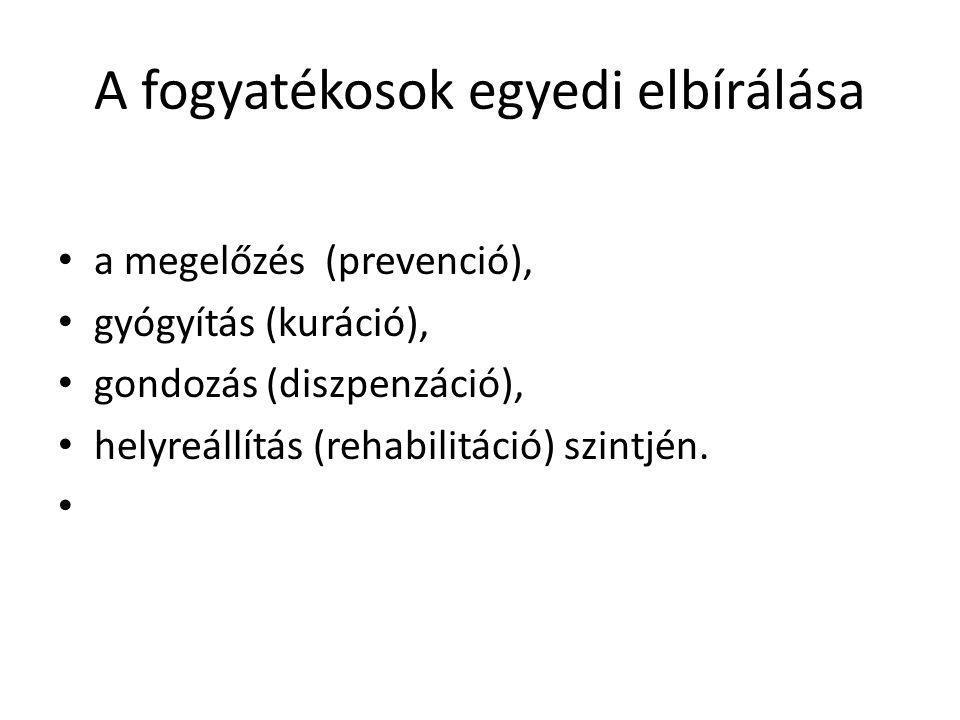 A fogyatékosok egyedi elbírálása a megelőzés (prevenció), gyógyítás (kuráció), gondozás (diszpenzáció), helyreállítás (rehabilitáció) szintjén.