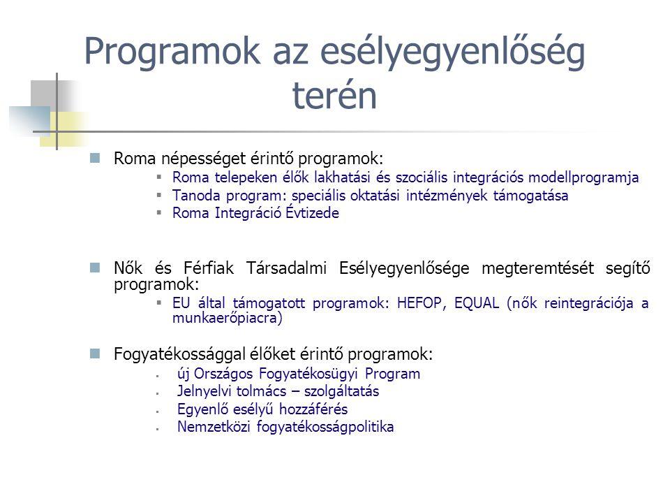 Programok az esélyegyenlőség terén Roma népességet érintő programok:  Roma telepeken élők lakhatási és szociális integrációs modellprogramja  Tanoda