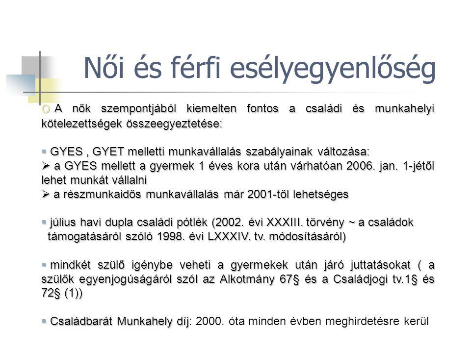 o A nők szempontjából kiemelten fontos a családi és munkahelyi kötelezettségek összeegyeztetése:  GYES, GYET melletti munkavállalás szabályainak vált