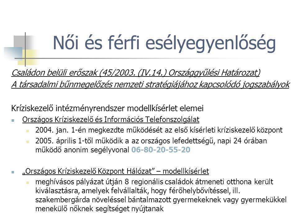 Családon belüli erőszak (45/2003. (IV.14.) Országgyűlési Határozat) A társadalmi bűnmegelőzés nemzeti stratégiájához kapcsolódó jogszabályok Kríziskez