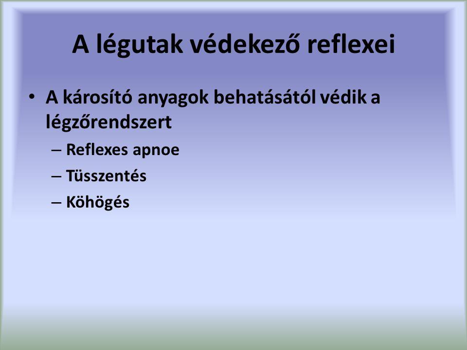 A légutak védekező reflexei A károsító anyagok behatásától védik a légzőrendszert – Reflexes apnoe – Tüsszentés – Köhögés