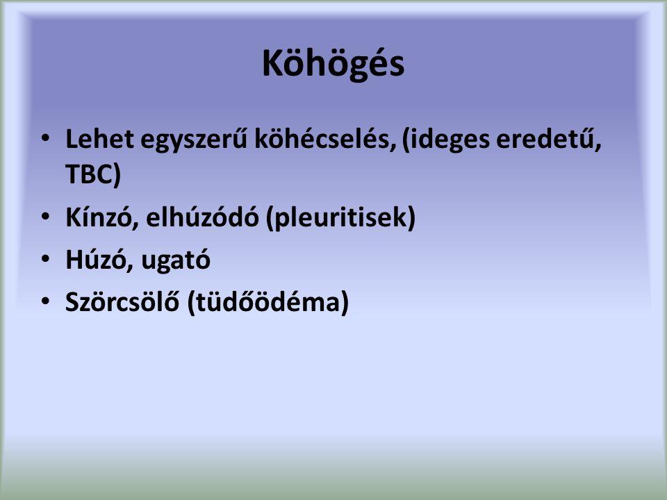 Köhögés Lehet egyszerű köhécselés, (ideges eredetű, TBC) Kínzó, elhúzódó (pleuritisek) Húzó, ugató Szörcsölő (tüdőödéma)