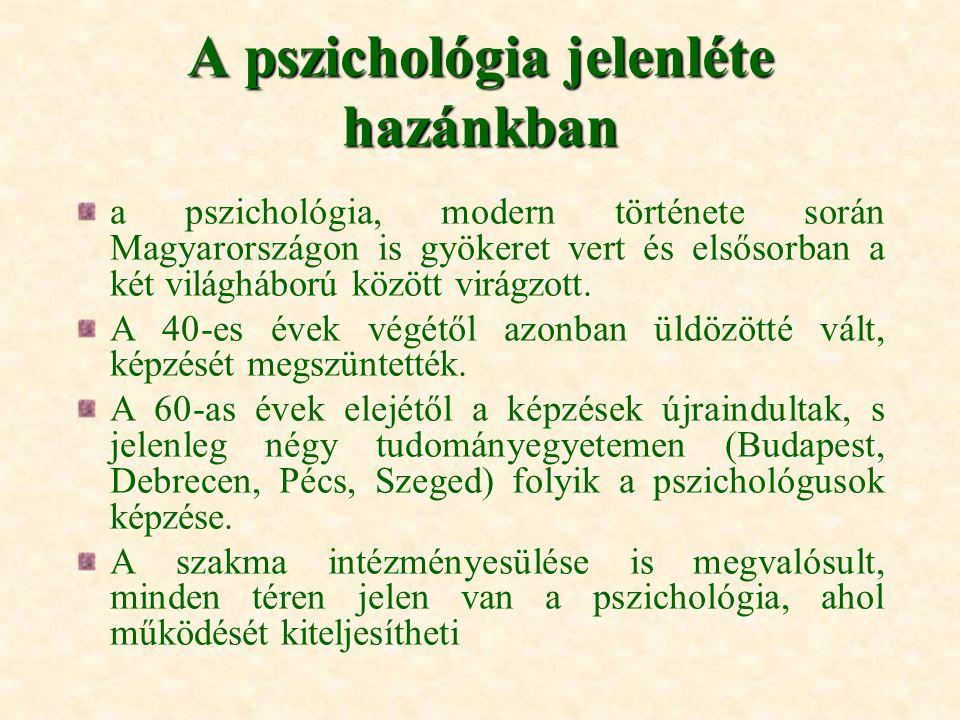A pszichológia jelenléte hazánkban a pszichológia, modern története során Magyarországon is gyökeret vert és elsősorban a két világháború között virág