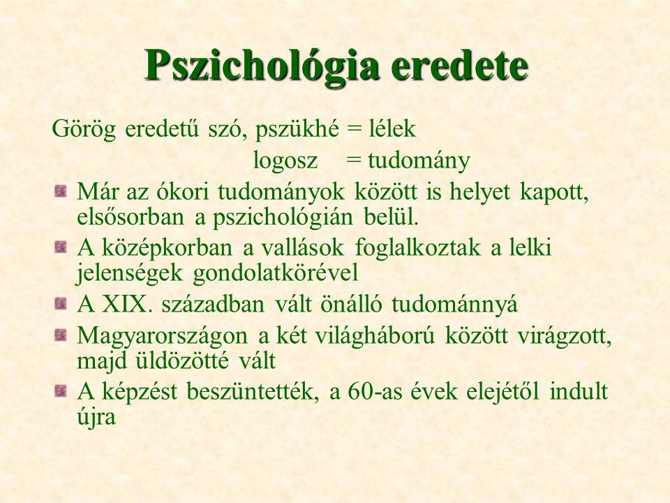 Pszichológia eredete Görög eredetű szó, pszükhé = lélek logosz = tudomány Már az ókori tudományok között is helyet kapott, elsősorban a pszichológián
