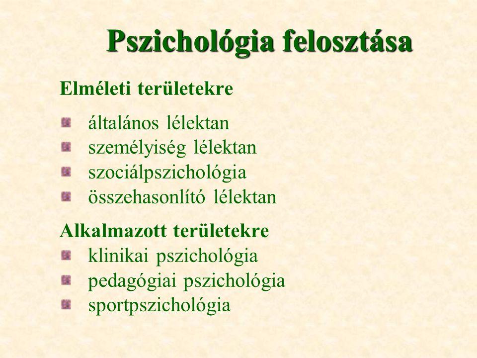 Pszichológia felosztása Elméleti területekre általános lélektan személyiség lélektan szociálpszichológia összehasonlító lélektan Alkalmazott területek