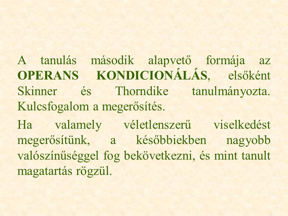 A tanulás második alapvető formája az OPERANS KONDICIONÁLÁS, elsőként Skinner és Thorndike tanulmányozta. Kulcsfogalom a megerősítés. Ha valamely véle