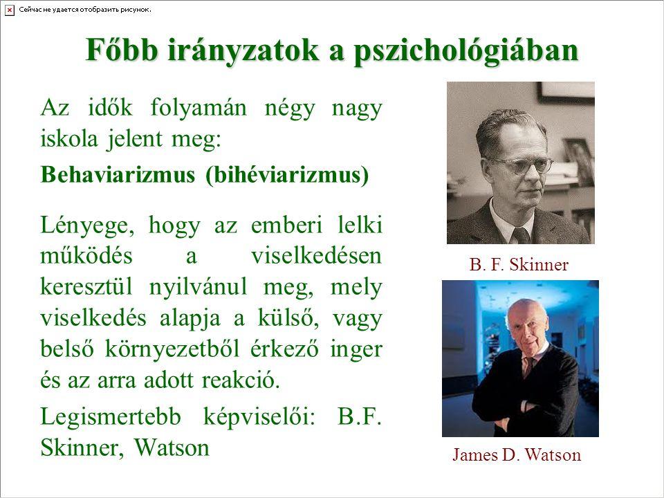 Főbb irányzatok a pszichológiában Az idők folyamán négy nagy iskola jelent meg: Behaviarizmus (bihéviarizmus) Lényege, hogy az emberi lelki működés a