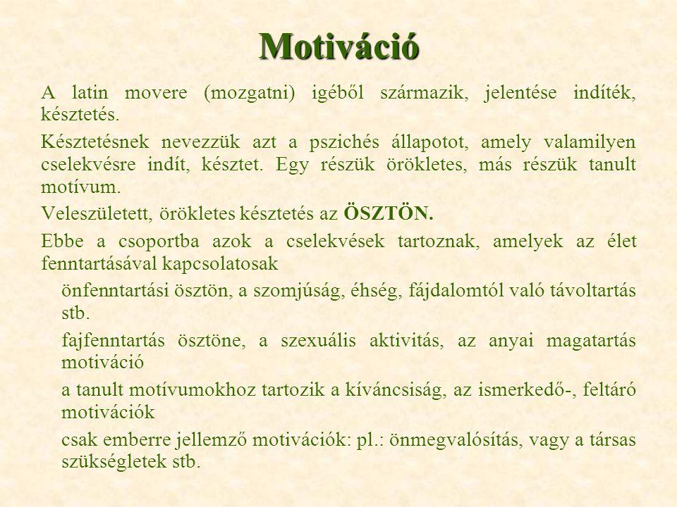 Motiváció A latin movere (mozgatni) igéből származik, jelentése indíték, késztetés. Késztetésnek nevezzük azt a pszichés állapotot, amely valamilyen c