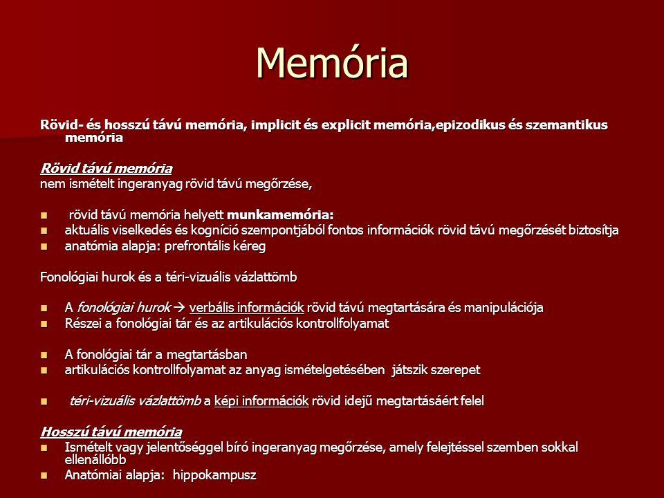 Memória Rövid- és hosszú távú memória, implicit és explicit memória,epizodikus és szemantikus memória Rövid távú memória nem ismételt ingeranyag rövid