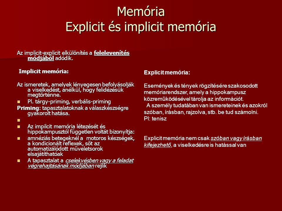 Memória Explicit és implicit memória Az implicit-explicit elkülönítés a felelevenítés módjából adódik. Implicit memória: Implicit memória: Az ismerete