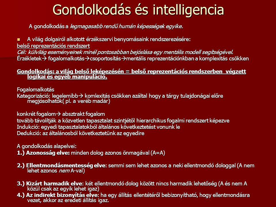Gondolkodás és intelligencia A gondolkodás a legmagasabb rendű humán képességek egyike. A gondolkodás a legmagasabb rendű humán képességek egyike. A v