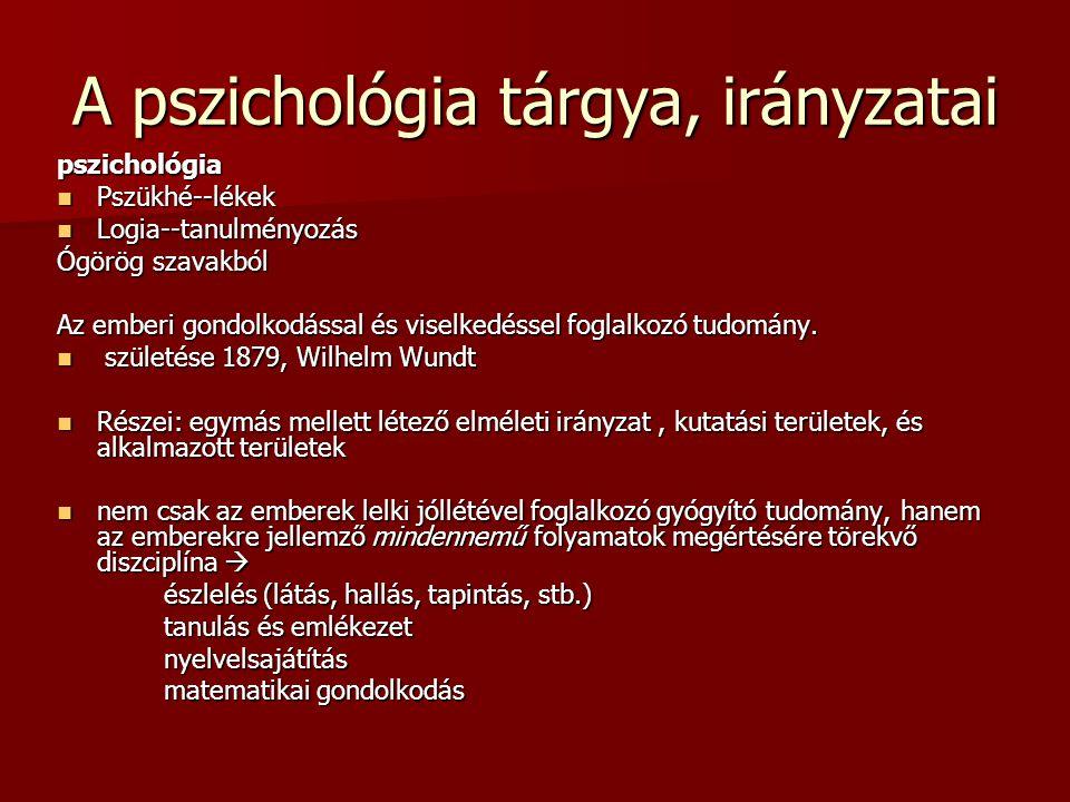 A pszichológia irányzatai Felosztása az elméleti irányzatok az elméleti irányzatok kutatási alapterület kutatási alapterület alkalmazott területek alkalmazott területek A pszichológia elméleti irányzatai : behaviorizmus behaviorizmus kognitív kognitív pszichoanalitikus pszichoanalitikus fenomenológikus pszichológia fenomenológikus pszichológia