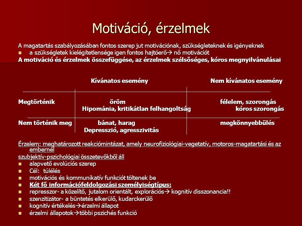 Motiváció, érzelmek A magatartás szabályozásában fontos szerep jut motivációnak, szükségleteknek és igényeknek a szükségletek kielégítetlensége igen f
