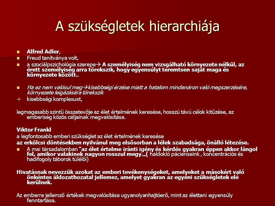 A szükségletek hierarchiája Alfred Adler, Alfred Adler, Freud tanítványa volt, Freud tanítványa volt, a szociálpszichológia szerepe  A személyiség ne