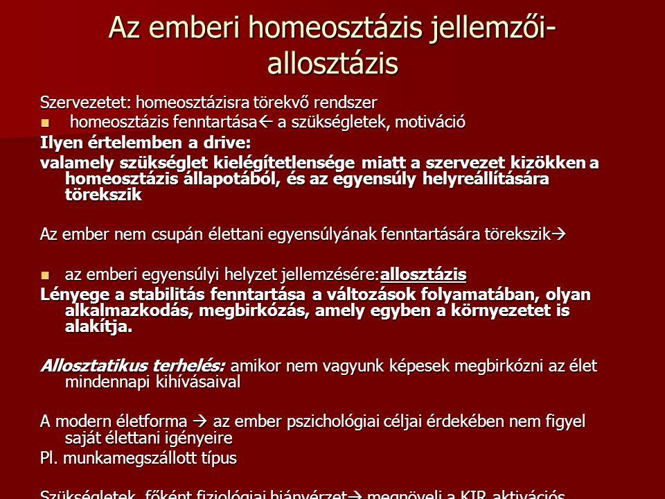 Az emberi homeosztázis jellemzői- allosztázis Szervezetet: homeosztázisra törekvő rendszer homeosztázis fenntartása  a szükségletek, motiváció homeos