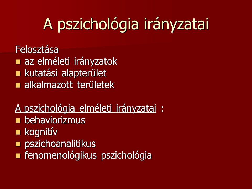 A pszichológia irányzatai Felosztása az elméleti irányzatok az elméleti irányzatok kutatási alapterület kutatási alapterület alkalmazott területek alk