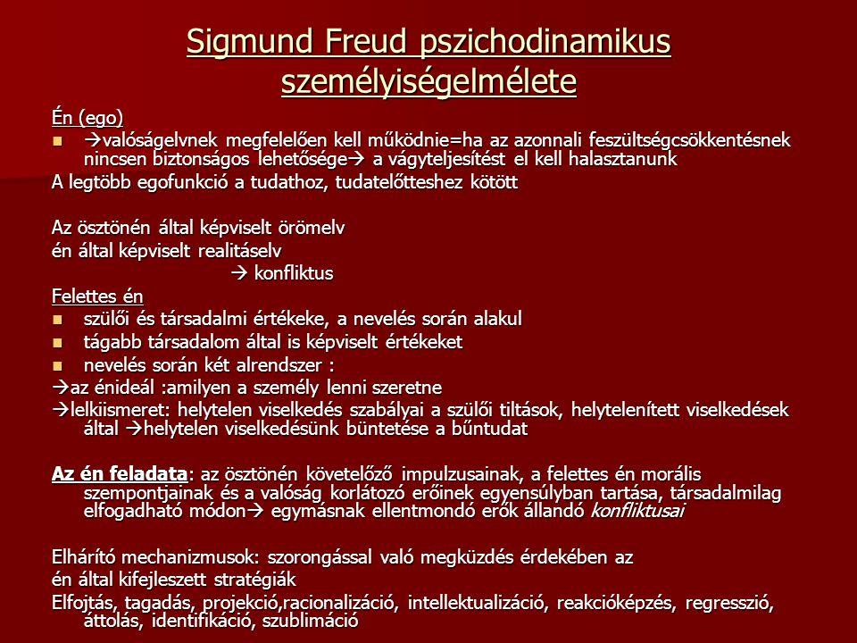 Sigmund Freud pszichodinamikus személyiségelmélete Én (ego)  valóságelvnek megfelelően kell működnie=ha az azonnali feszültségcsökkentésnek nincsen b