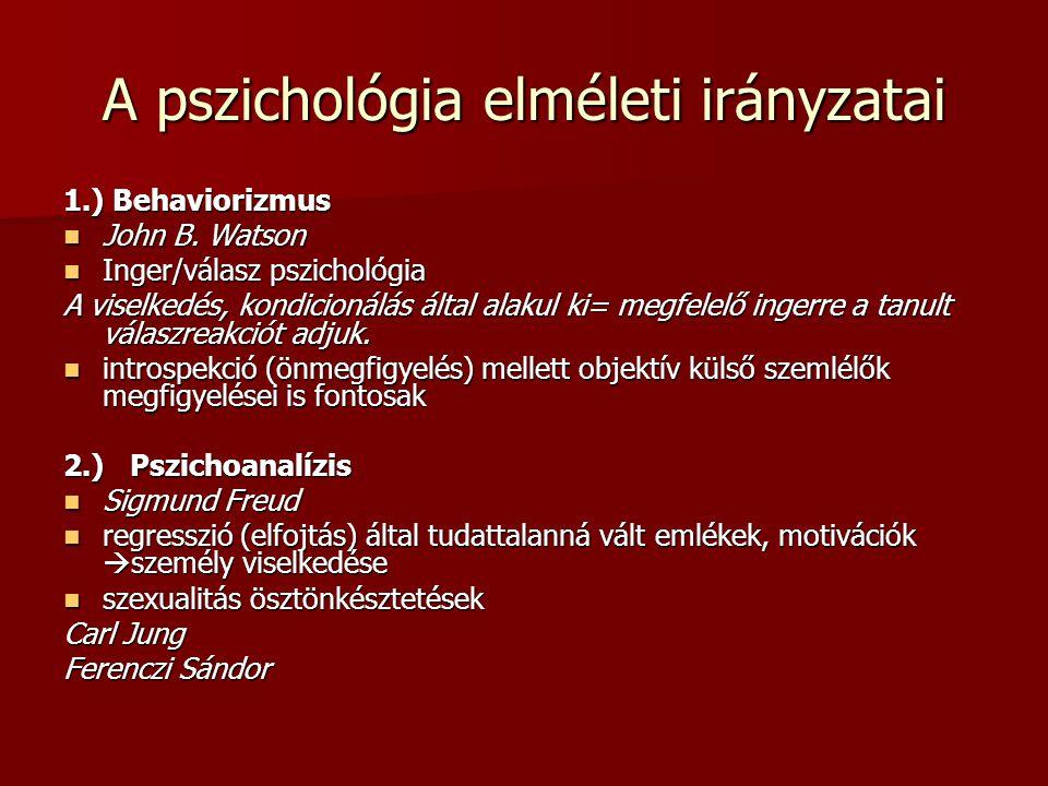 A pszichológia elméleti irányzatai 1.) Behaviorizmus John B. Watson John B. Watson Inger/válasz pszichológia Inger/válasz pszichológia A viselkedés, k