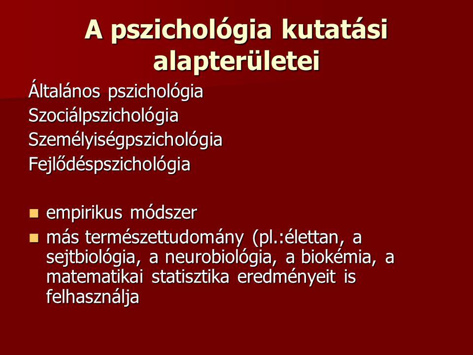 A pszichológia kutatási alapterületei Általános pszichológia SzociálpszichológiaSzemélyiségpszichológiaFejlődéspszichológia empirikus módszer empiriku
