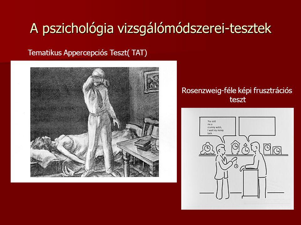 A pszichológia vizsgálómódszerei-tesztek Tematikus Appercepciós Teszt( TAT) Rosenzweig-féle képi frusztrációs teszt
