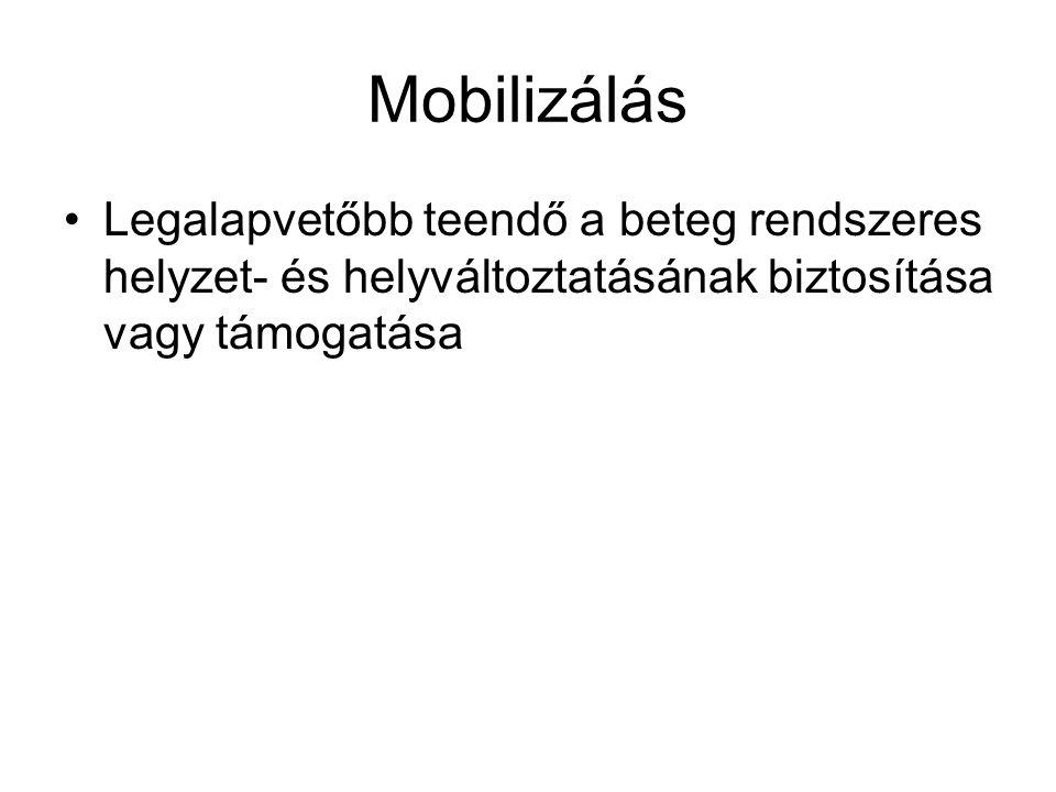 Mobilizálás Legalapvetőbb teendő a beteg rendszeres helyzet- és helyváltoztatásának biztosítása vagy támogatása