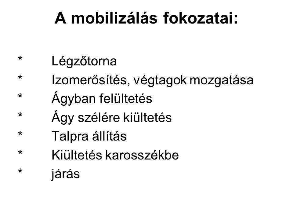 A mobilizálás fokozatai: * Légzőtorna * Izomerősítés, végtagok mozgatása * Ágyban felültetés * Ágy szélére kiültetés * Talpra állítás * Kiültetés karo