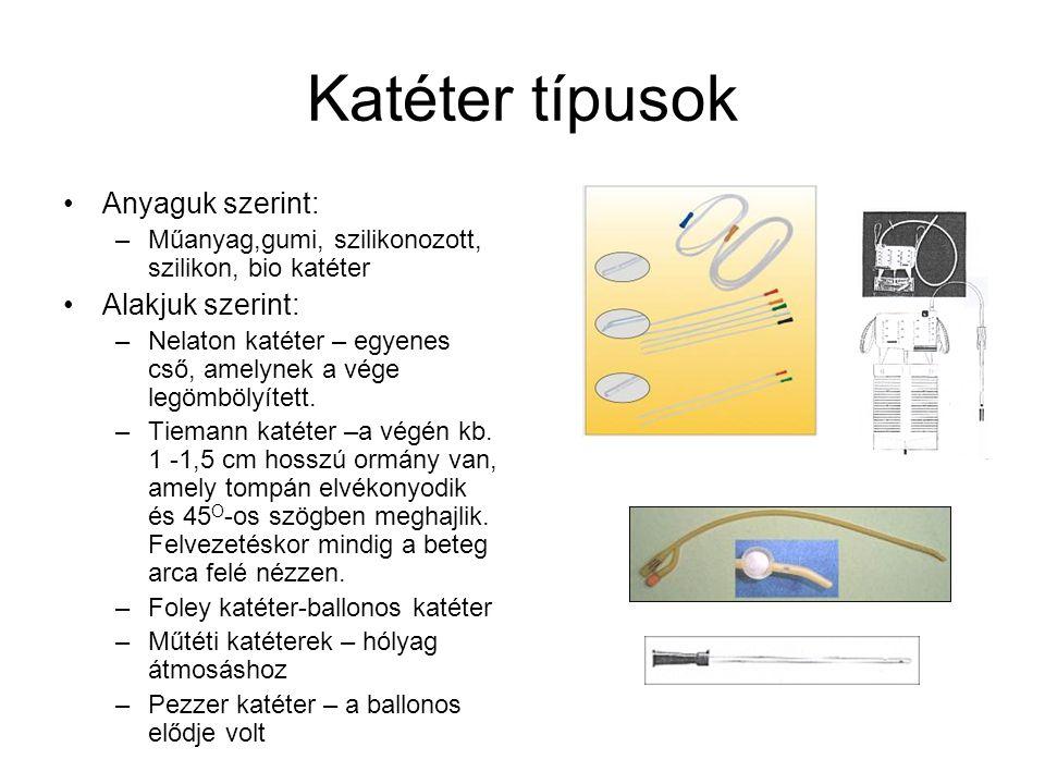 Katéter típusok Anyaguk szerint: –Műanyag,gumi, szilikonozott, szilikon, bio katéter Alakjuk szerint: –Nelaton katéter – egyenes cső, amelynek a vége