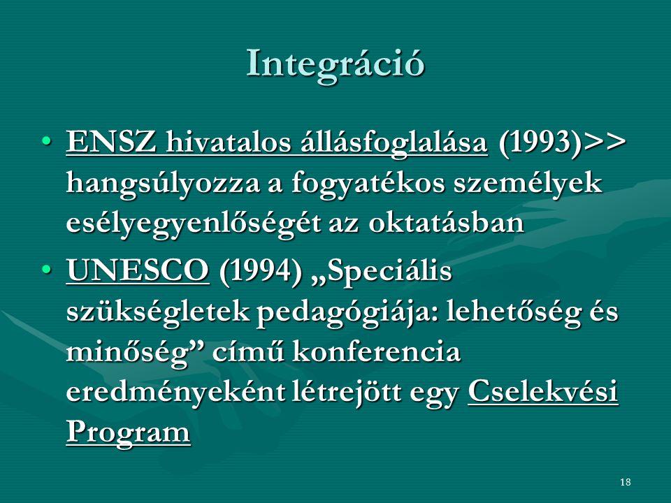 18 Integráció ENSZ hivatalos állásfoglalása (1993)>> hangsúlyozza a fogyatékos személyek esélyegyenlőségét az oktatásbanENSZ hivatalos állásfoglalása