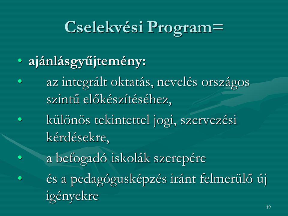 19 Cselekvési Program= ajánlásgyűjtemény:ajánlásgyűjtemény: az integrált oktatás, nevelés országos szintű előkészítéséhez, az integrált oktatás, nevel