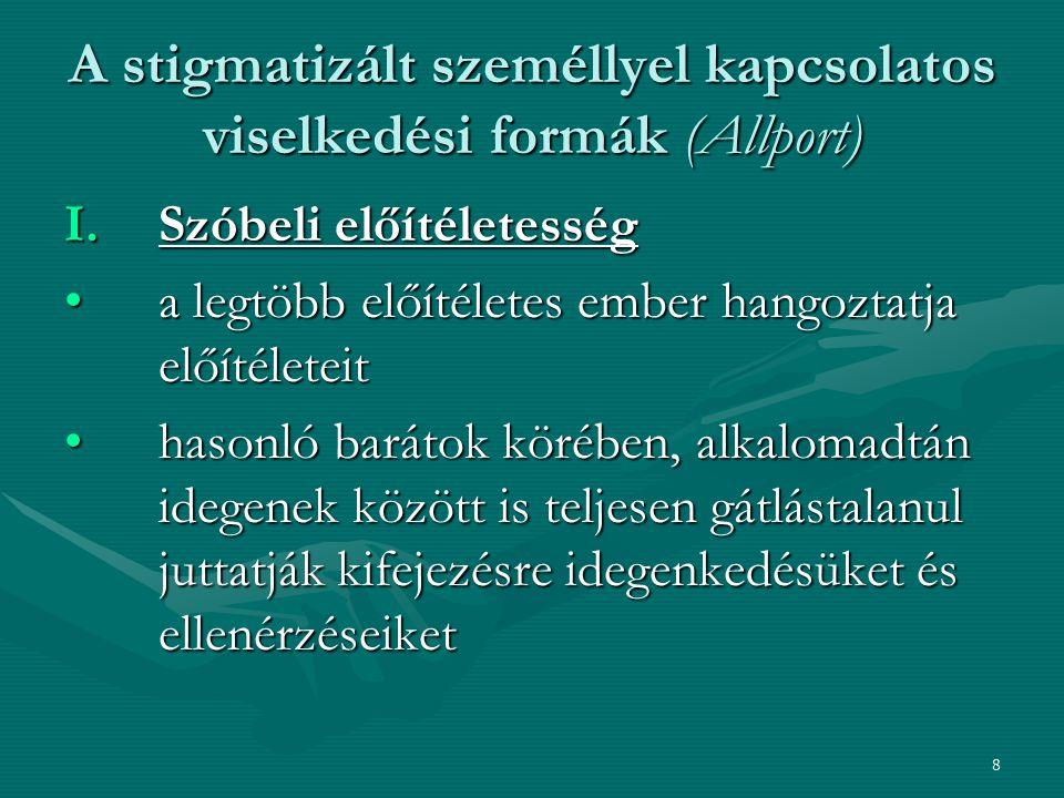 8 A stigmatizált személlyel kapcsolatos viselkedési formák (Allport) I.Szóbeli előítéletesség a legtöbb előítéletes ember hangoztatja előítéleteita le