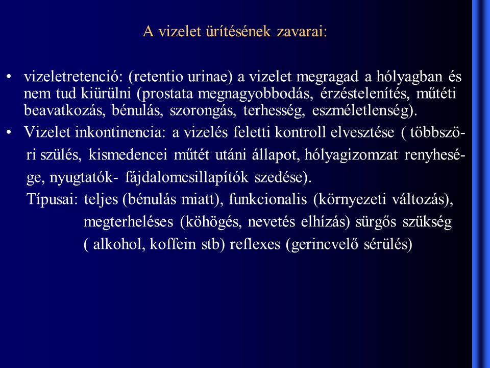 A vizelet ürítésének zavarai: vizeletretenció: (retentio urinae) a vizelet megragad a hólyagban és nem tud kiürülni (prostata megnagyobbodás, érzéstelenítés, műtéti beavatkozás, bénulás, szorongás, terhesség, eszméletlenség).