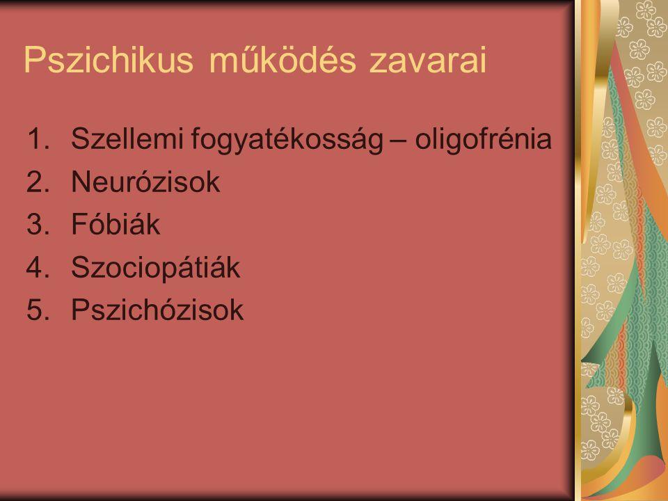 Pszichikus működés zavarai 1.Szellemi fogyatékosság – oligofrénia 2.Neurózisok 3.Fóbiák 4.Szociopátiák 5.Pszichózisok