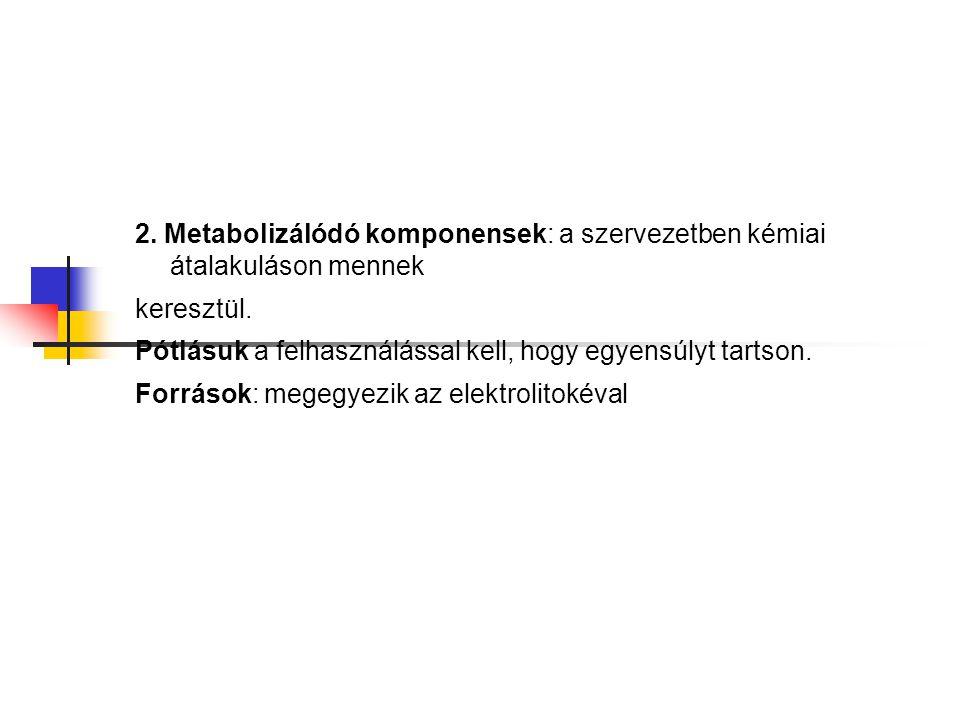 2. Metabolizálódó komponensek: a szervezetben kémiai átalakuláson mennek keresztül. Pótlásuk a felhasználással kell, hogy egyensúlyt tartson. Források