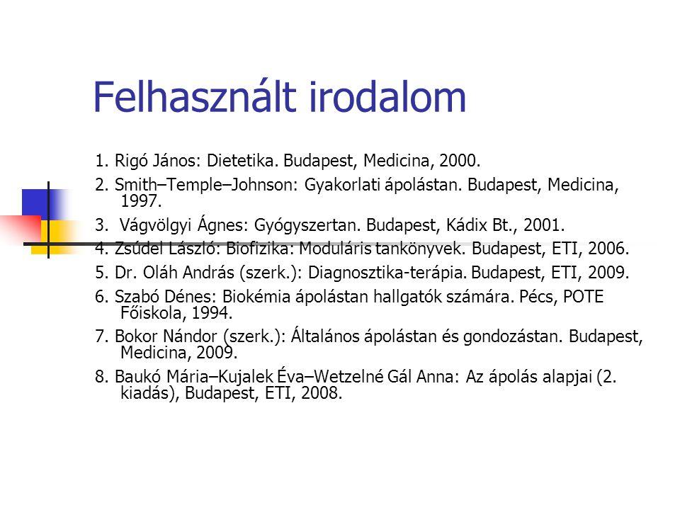 Felhasznált irodalom 1. Rigó János: Dietetika. Budapest, Medicina, 2000. 2. Smith–Temple–Johnson: Gyakorlati ápolástan. Budapest, Medicina, 1997. 3. V