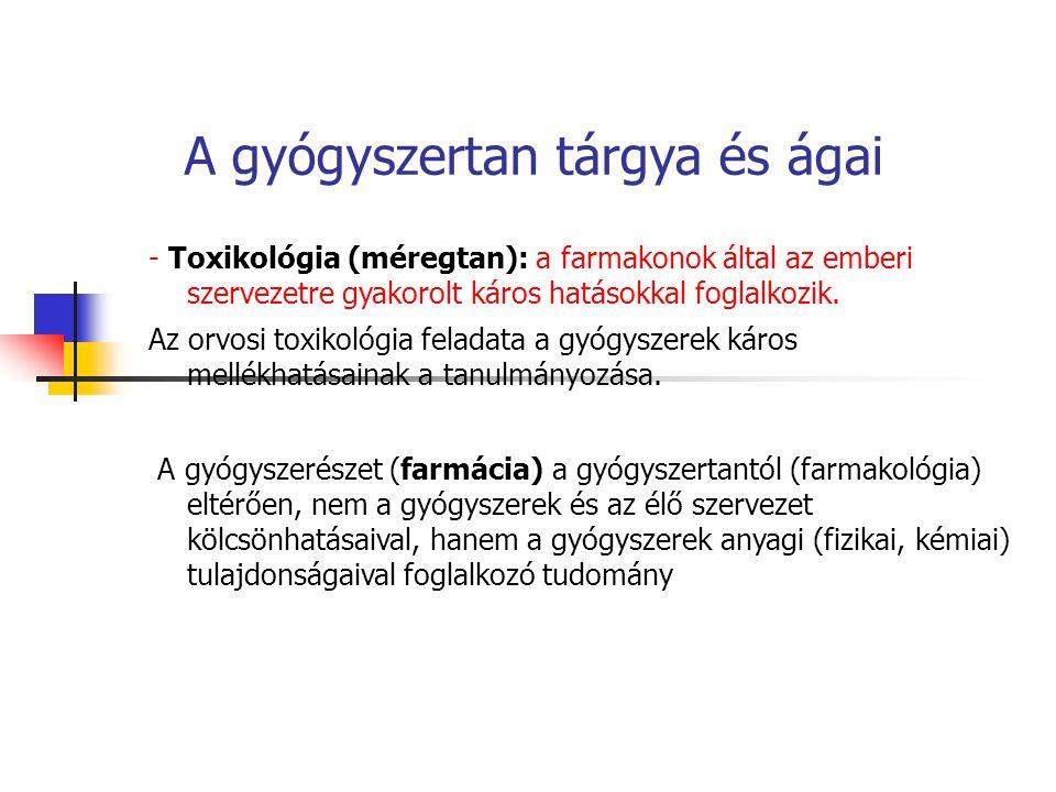 A gyógyszertan tárgya és ágai - Toxikológia (méregtan): a farmakonok által az emberi szervezetre gyakorolt káros hatásokkal foglalkozik. Az orvosi tox