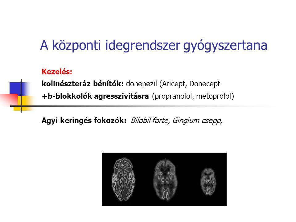 A központi idegrendszer gyógyszertana Kezelés: kolinészteráz bénítók: donepezil (Aricept, Donecept +b-blokkolók agresszivitásra (propranolol, metoprol