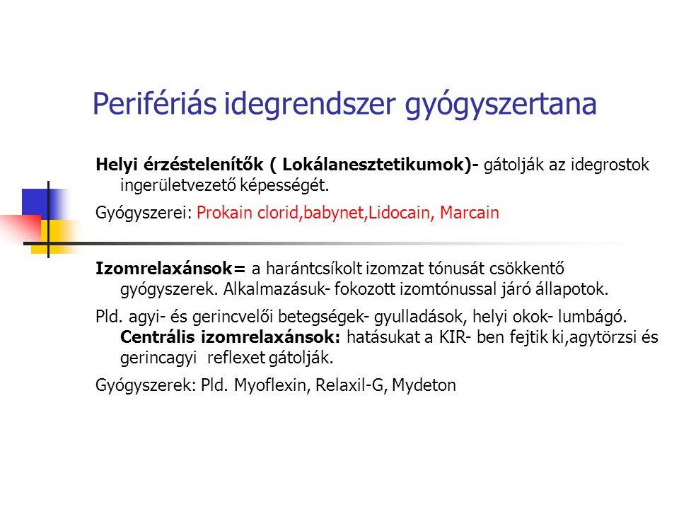 Perifériás idegrendszer gyógyszertana Helyi érzéstelenítők ( Lokálanesztetikumok)- gátolják az idegrostok ingerületvezető képességét. Gyógyszerei: Pro