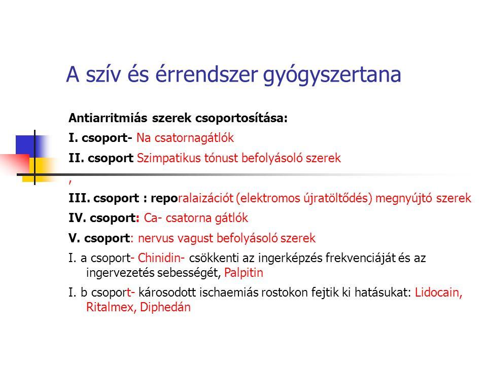 A szív és érrendszer gyógyszertana Antiarritmiás szerek csoportosítása: I. csoport- Na csatornagátlók II. csoport Szimpatikus tónust befolyásoló szere