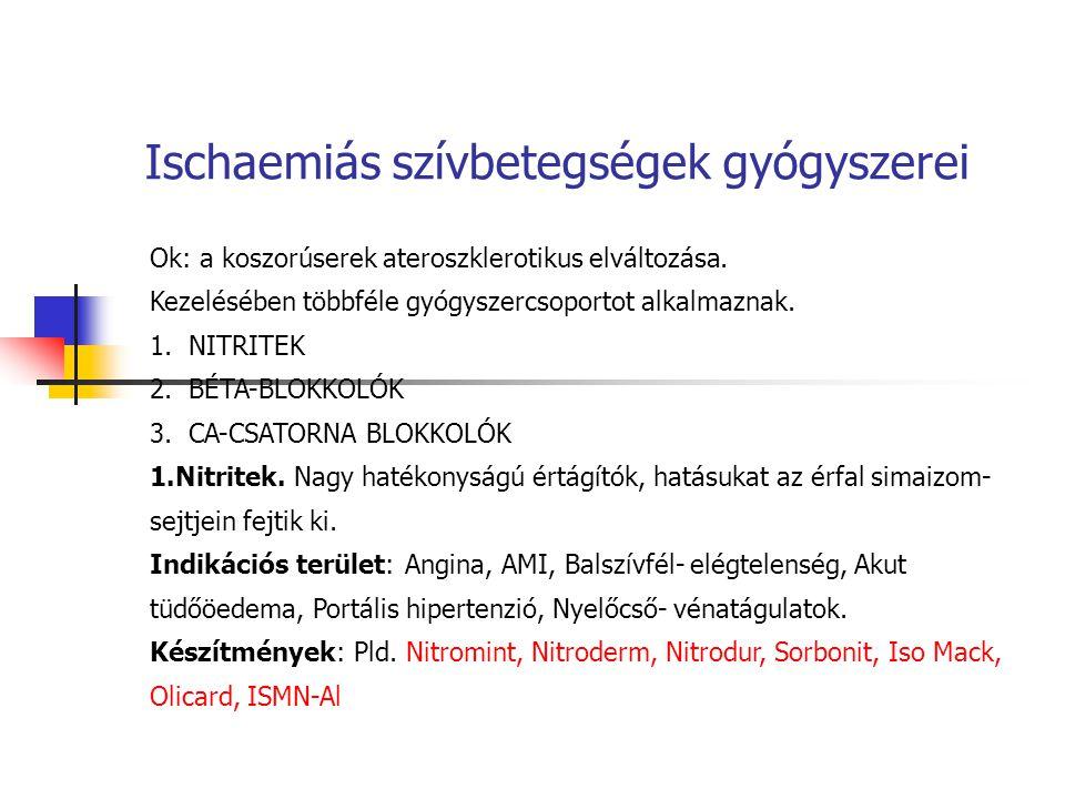 Ischaemiás szívbetegségek gyógyszerei Ok: a koszorúserek ateroszklerotikus elváltozása. Kezelésében többféle gyógyszercsoportot alkalmaznak. 1.NITRITE