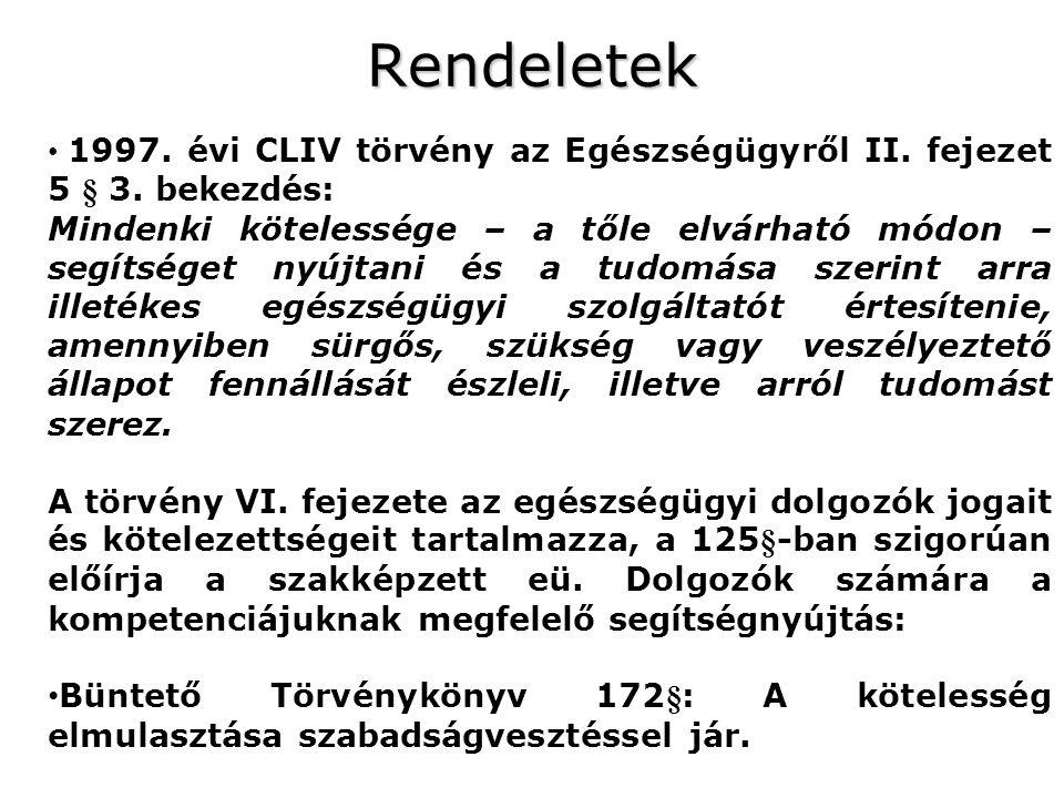 Rendeletek 1997. évi CLIV törvény az Egészségügyről II. fejezet 5 § 3. bekezdés: Mindenki kötelessége – a tőle elvárható módon – segítséget nyújtani é