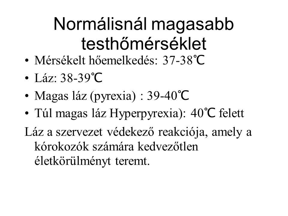 Normálisnál magasabb testhőmérséklet Mérsékelt hőemelkedés: 37-38 ℃ Láz: 38-39 ℃ Magas láz (pyrexia) : 39-40 ℃ Túl magas láz Hyperpyrexia): 40 ℃ felet