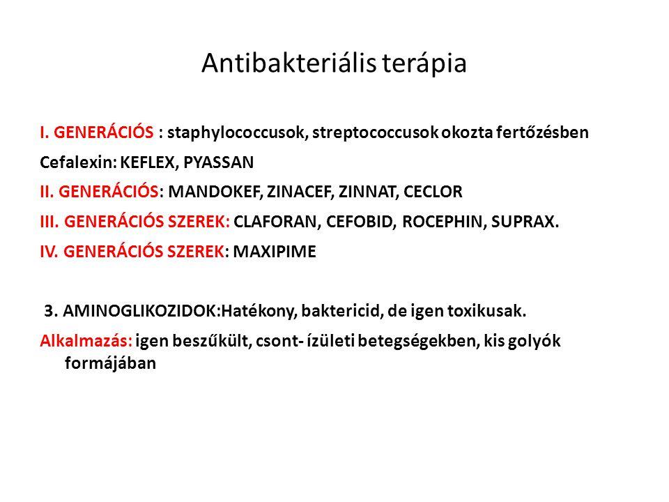Antibakteriális terápia I. GENERÁCIÓS : staphylococcusok, streptococcusok okozta fertőzésben Cefalexin: KEFLEX, PYASSAN II. GENERÁCIÓS: MANDOKEF, ZINA
