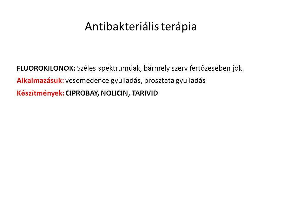 Antibakteriális terápia FLUOROKILONOK: Széles spektrumúak, bármely szerv fertőzésében jók. Alkalmazásuk: vesemedence gyulladás, prosztata gyulladás Ké