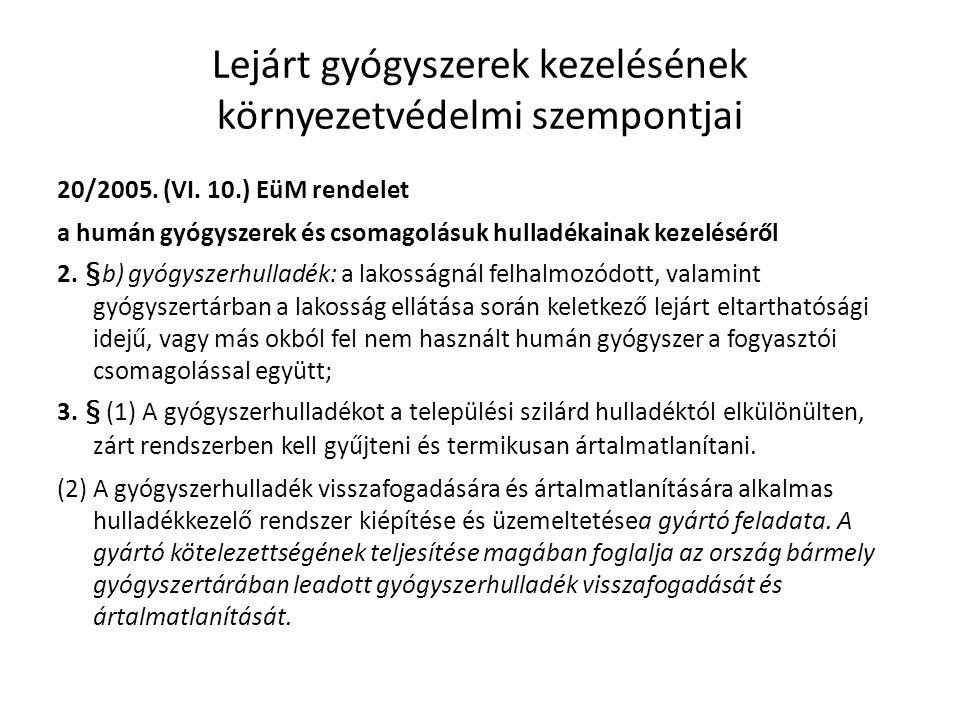 Lejárt gyógyszerek kezelésének környezetvédelmi szempontjai 20/2005. (VI. 10.) EüM rendelet a humán gyógyszerek és csomagolásuk hulladékainak kezelésé