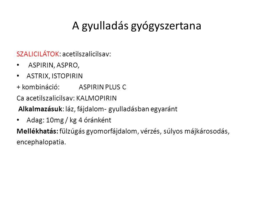 A gyulladás gyógyszertana SZALICILÁTOK: acetilszalicilsav: ASPIRIN, ASPRO, ASTRIX, ISTOPIRIN + kombináció: ASPIRIN PLUS C Ca acetilszalicilsav: KALMOP