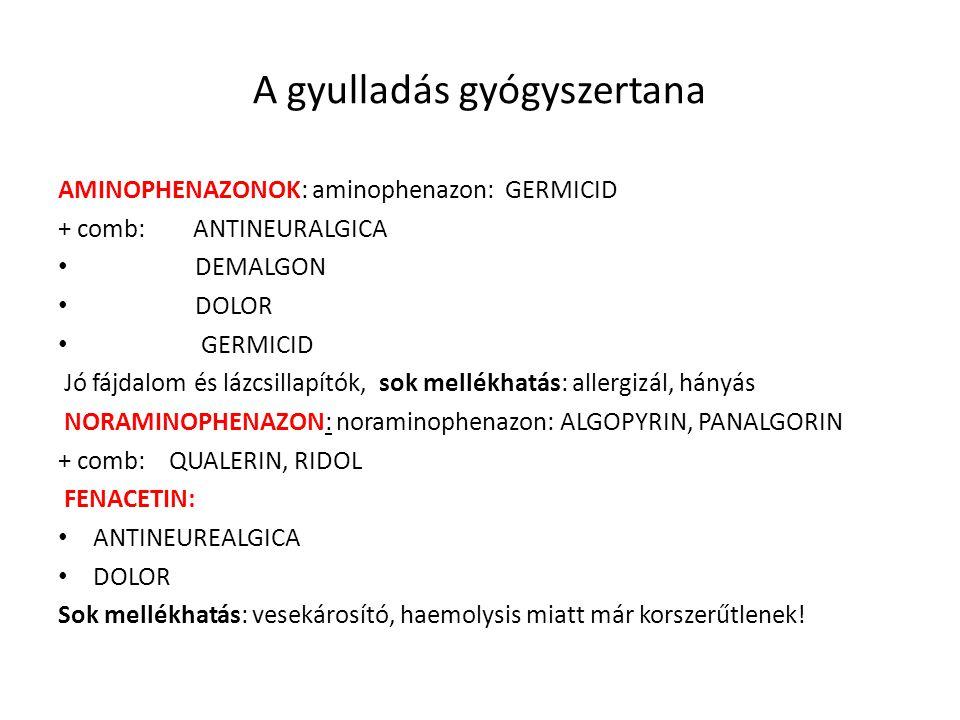 A gyulladás gyógyszertana AMINOPHENAZONOK: aminophenazon: GERMICID + comb: ANTINEURALGICA DEMALGON DOLOR GERMICID Jó fájdalom és lázcsillapítók, sok m