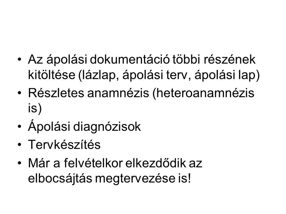 Az ápolási dokumentáció többi részének kitöltése (lázlap, ápolási terv, ápolási lap) Részletes anamnézis (heteroanamnézis is) Ápolási diagnózisok Terv